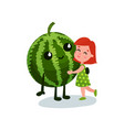 sweet little girl hugging smiling giant watermelon vector image