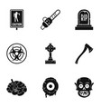 zombie element icon set simple style vector image