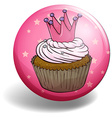 Cupcake on round badge vector image vector image