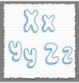 sketch 3d alphabet letters -xyz vector image vector image