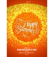 Happy summer flyer or poster orange background vector image