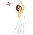 bride tossing a rose bouquet on her wedding day vector image