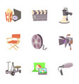 movie production icons set cartoon style vector image