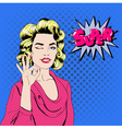 Pop Art Woman Gesturing Okay vector image