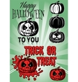 set of pumpkins with inscriptions for Halloween vector image