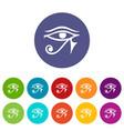eye of horus egypt deity icons set flat vector image