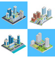 modern city isometric compositions vector image