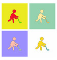 silhouette of athlete practicing hokey collection vector image vector image