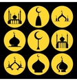 Mosque dome icons set vector image