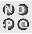 Capital letter N O P Q of wide white stripes vector image