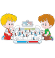 Boys play table hockey vector image