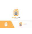 lock and real estate logo combination safe vector image