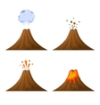 Volcano Icon Set Isolated on White Background vector image