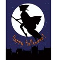 Witch on a broom sihlouette vector image