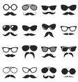 Set of black hipster mustache and glasses vector image vector image