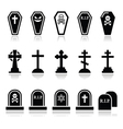 Halloween graveyard icons set - coffin cross gr vector image vector image