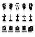Halloween graveyard icons set - coffin cross gr vector image