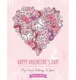 Pink grunge background with valentine heart vector image