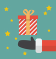 Santa Hand With Christmas Gift box vector image