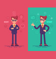 angry and positive businessmen vector image