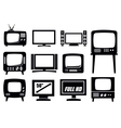 retro and modern tv icons vector image