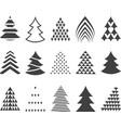 set of 15 stylized Christmas trees vector image