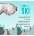 Ski Party Poster Template with Mount and sunglass vector image