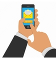 Smart phone in hand with email vector image