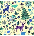 Seamless pattern with Christmas patch silhouettes vector image