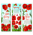 banners of spring poppy flowers and quotes vector image