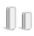 Two blank aluminium cans for product mockup vector image
