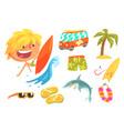 boy surfer extreme sportsman kids future dream vector image