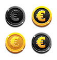 cartoon set golden and black dollar coins vector image