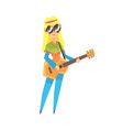 Hippie girl singing while playing guitar cartoon vector image