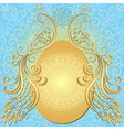 Gold-blue easter frame vector image