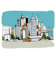 megalopolis city street  hand drawn vector image