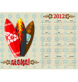 european aloha vector calendar 2012 with surf boar vector image vector image