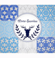 8 Seamless Patterns with Snowflakes vector image