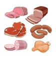 Cartoon butchery meat set vector image