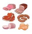 Cartoon butchery meat set vector image vector image