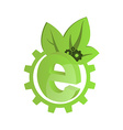 icon green gears with green leaves and the letter vector image