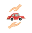 Car protected by hands icon cartoon style vector image