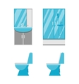 Flat bathroom icons vector image