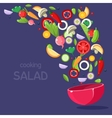 Salad Ingredients Flying Into Bowl vector image