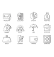Set Icons in style flat line Theme - Finance vector image
