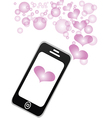 Smartphone sharing love message vector image