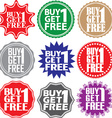 Buy 1 get 1 free label Buy 1 get 1 free sign Buy 1 vector image