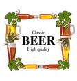 Square frame of beer bottle mug glass malt and vector image