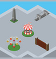 isometric architecture set of dc memorial barrier vector image