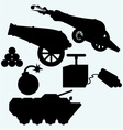 Set artillery cannon tank and bombs vector image
